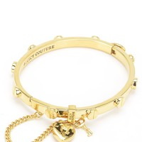 Gold Heart Padlock And Screw Bangle Bracelet by Juicy Couture, O/S