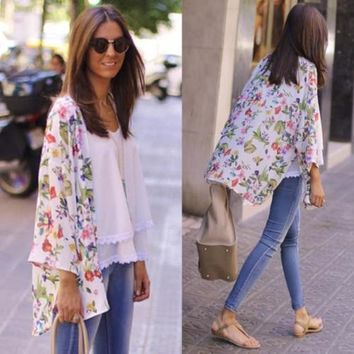 New Women Floral Chiffon Shawl Kimono Cardigan Loose Casual Cover Up Tops Blouse