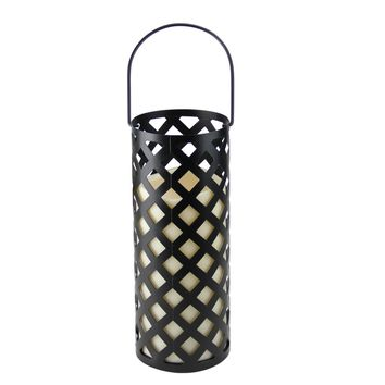 "12"" Black Metal Criss Cross Lantern with Bisque LED Lighted Flameless Indoor/Outdoor Pillar Candle"