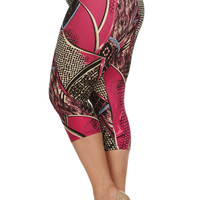 Women's Always Classy Pink High Waist Cropped Leggings-Plus Size  OneSize