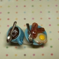 Miniature Food Jewelry Breakfast Earrings in Blue with Bacon and Eggs