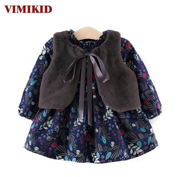 VIMIKID Baby Girls Dress 2017 Autumn and Winter Girls Thicken Plus Velvet Long Sleeve Down Dress + Hair Shawl Kids Clothes Dress