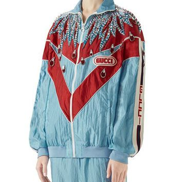 Gucci Technical Nylon Zip-Front Jacket with Crystal Embellishments