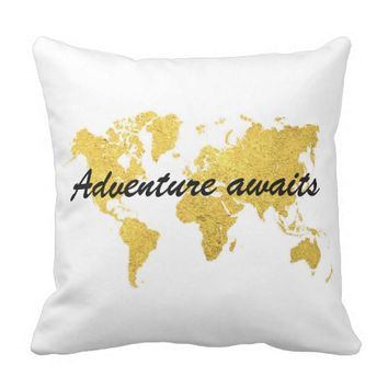 Modern Gold World Map Quote Pillow