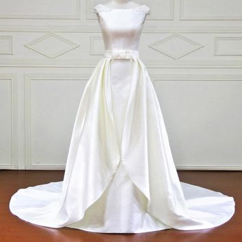 A-Line Wedding Dresses Beading Backless Cap Sleeve Bridal Gowns Wedding Dress