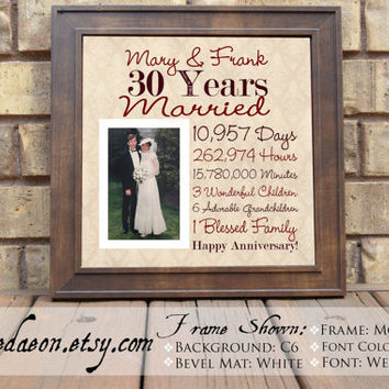 Wedding Anniversary, 30th Wedding Anniversary Gift, Parent Anniversary Gift, Parent Anniversary, Day Counting Anniversary Gift, 15x15