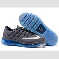 """""""NIKE"""" Trending AirMax Toe Cap hook section knited Fashion Casual Sports Shoes Grey white hook (blue soles)"""