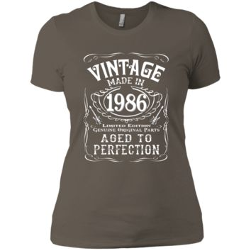 Vintage Made In 1986 Birthday Gift Idea T Shirt Next Level Ladies' Boyfriend Tee