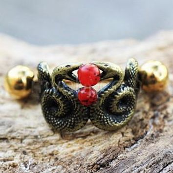 Blood Drop Double Snake Cartilage Cuff Earring