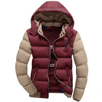 Mens Casual Poofy Hooded Jacket