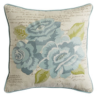 Spring Meadow Embroidered Roses Pillow - Blue