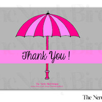 Pink Umbrella Grey Printable Baby Shower Thank You Card