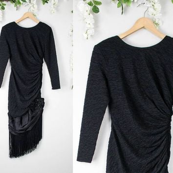 Vintage Fringe Black Asymmetrical Party Dress