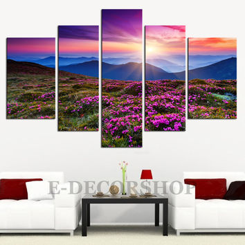 CANVAS ART  - Colourful Autumn and Canvas Art Print 5 Piece Mountains Landscape Canvas Printing |  Tree and Mountains Canvas Large Wall Art