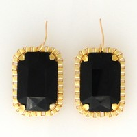 Supermarket: Black rectangle crystal earrings from Jenny Dayco