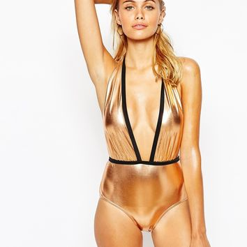 South Beach Metallic Plunge Swimsuit