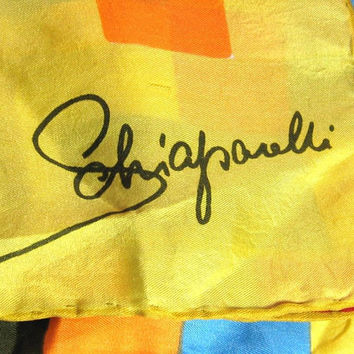 Vintage Schiaparelli Silk Scarf  Shawl Yellow Orange Red Blue Olive  Cubist Op Art Hand Rolled Hem Designer