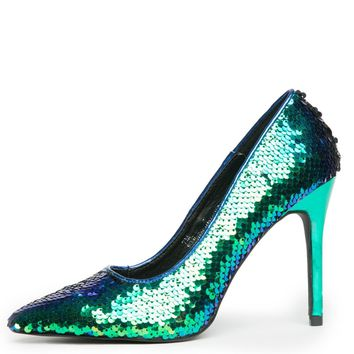 Cape Robbin Kitana-45 Women's Mermaid Sequence High Heel