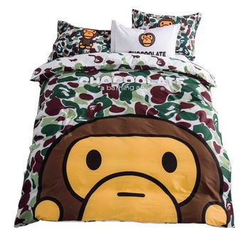 Home Textile A Bathing Bape Bedding Set Cotton Cartoon Bed Linen 4pcs Include Duvet Cover Bed Sheet Pillowcase Free Shipping