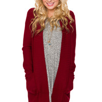 Star Cardigan - Burgundy