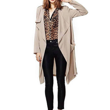 Beige Two Pockets Cape Coat