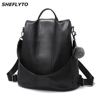New Fashion Leather Backpacks Women Vintage Solid Color School Bags for Teenager Girl School Backpack Female Travel Shoulder Bag