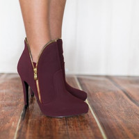 Burgundy Zip Heel