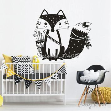 Tribal Fox Wall Decal Cute Woodland Fox Wall Sticker for Kids Room Nursery Wall Art Tattoo vinilos paredes Vinyl Murals A734
