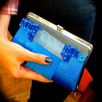 UPcycled Vintage Clutch Purse 1960s Blue and Black Mixed Media Rubber Vinyl and Plastic