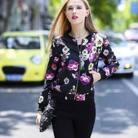 Autumn Women's Fashion Floral Print Zippers Jacket [6513033607]