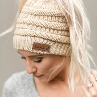 Messy Bun Knitted Beanie - Oatmeal