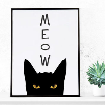Meow, meow art, black cat art print, black cat wall art, home decor, print download, kids art print, cat printable, cat wall art, kids room