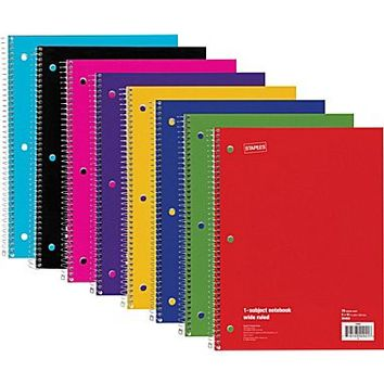 Staples® 1 Subject Notebook, Wide Ruled, 8 x 10-1/2