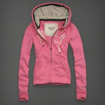 Abercrombie & Fitch Women Fashion Casual Cardigan Jacket Coat Hoodie-23
