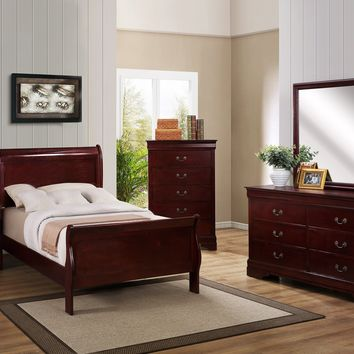 Cherry Twin Sleigh Bedroom Set