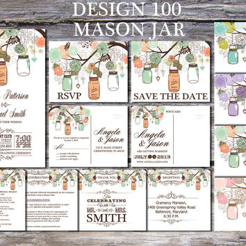 Mason Jar  Wedding Invitation Suite Shabby Chic Wedding Invitation Country Wedding Invitation Printable Rustic Wedding Invitation