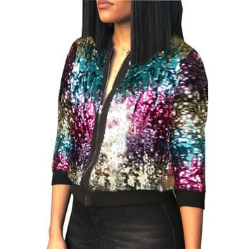 2018 Autumn Winter Sequin Jacket Womens Sparkly Bomber Jacket Three Quater Sleeve Zipper Glitter Streetwear Fashion Jackets Coat