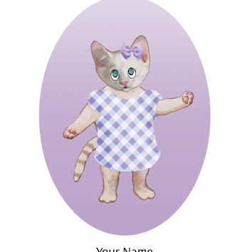 Kitten Painting – 8x10 – Baby Animal Art – Baby Room Art – Gift for Girl – For Baby – New Baby – Cat Illustration – Birthday Gift