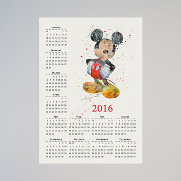 Mickey Mouse Disney Calendar Personalized 2016 Watercolor Picture Print Save the date gift Christmas New Year Birthday present