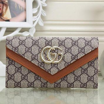 Gucci Women Trending Shopping Leather Buckle Purse Wallet Brown I