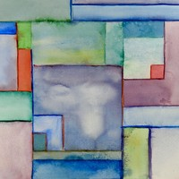 Color Block Abstract Watercolor Painting