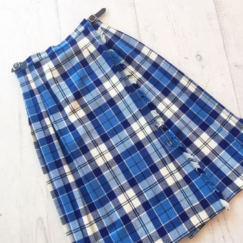 Vintage White And Blue Plaid Wool Wrap Skirt