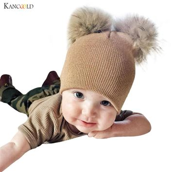 winter hat 2017 mink and fox fur ball cap pom poms winter hat for Baby girl 's hat knitted beanies cap brand new thick cap oc30