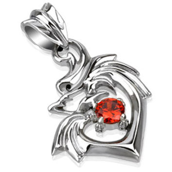 Dragonheart – FINAL SALE Sculpted Polished Stainless Steel Tribal Dragon Design Heart Shaped Pendant with Ruby Red Cubic Zirconia Solitaire