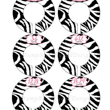 Custom Baby Closet Dividers Girl Hot Pink Black Zebra Stipes Closet Dividers Baby Shower Gift Nursery Closet Organizers Baby Girl 021