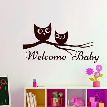 Wall Decals Welcome Baby Decal Vinyl Sticker Owlet Owl Tree Branch   Home Decor Nursery Bedroom Kindergarten School Dorm Living Room MN 256