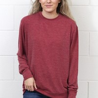 Basic Hacci Rib Long Sleeve {Red Garnet}