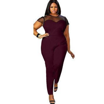 Plus Size Women Rompers Jumpsuit 2018 Sexy Elegant Lace Patchwork Maxi Overalls Short Sleeve Big Size Bodycon Long Bodysuit Club