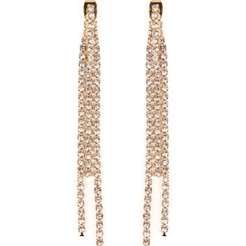 Three Pave Line Drop Earrings