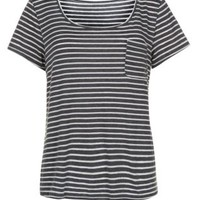 Black and White Stripe Wide V Neck T-Shirt